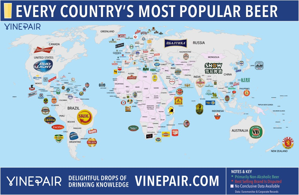 MAP: THE MOST POPULAR BEER IN EVERY COUNTRY [credit: vinepair.com]